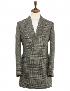 Double Breasted Check Overcoat - Grey