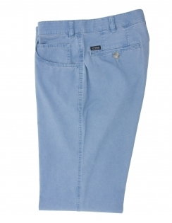 Dover Cotton Chino With Stretch Waistband - Smoke Blue
