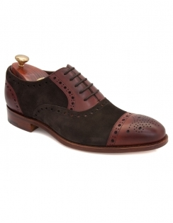 Dover Suede / Calf Toe Cap Oxford - Bitter Chocolate & Rosewood