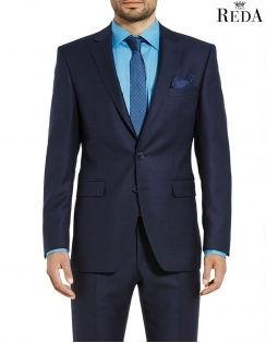 Duncan Modern Fit Pure Italian Wool Pin Dot Suit Jacket - Navy