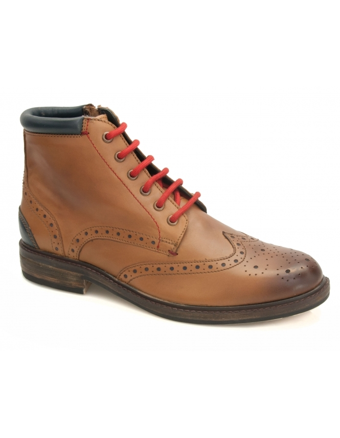 Maybury Dwight Leather Brogue Boot - Brown