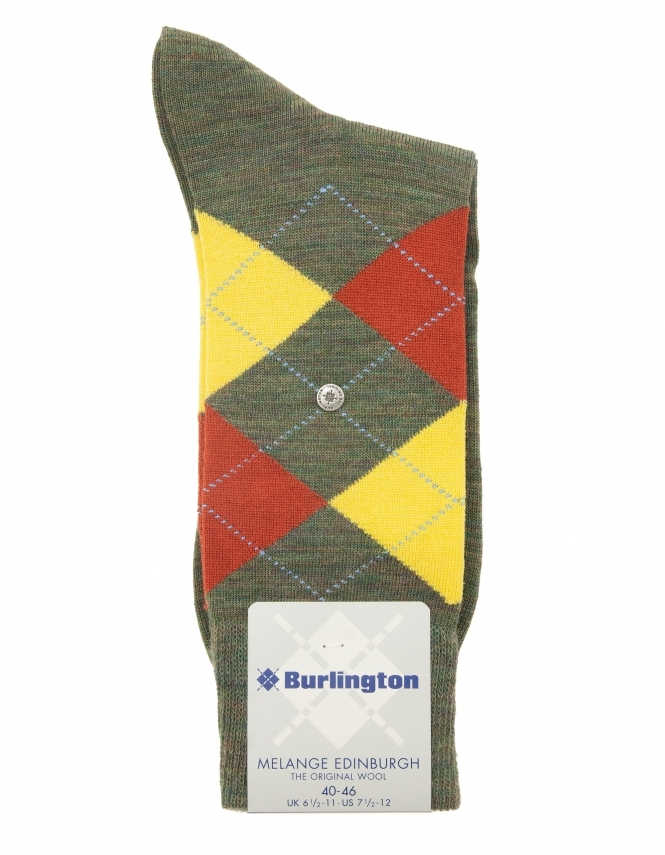 Burlington Edinburgh Melange Argyle Sock - Green
