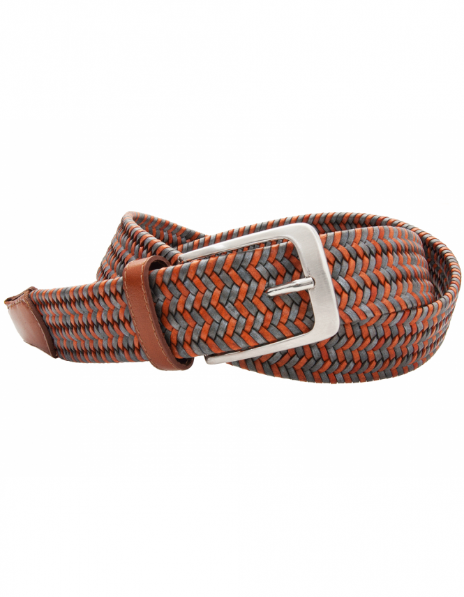 Profuomo Elastic Woven Leather Belt - Tan