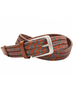 Elastic Woven Leather Belt - Tan