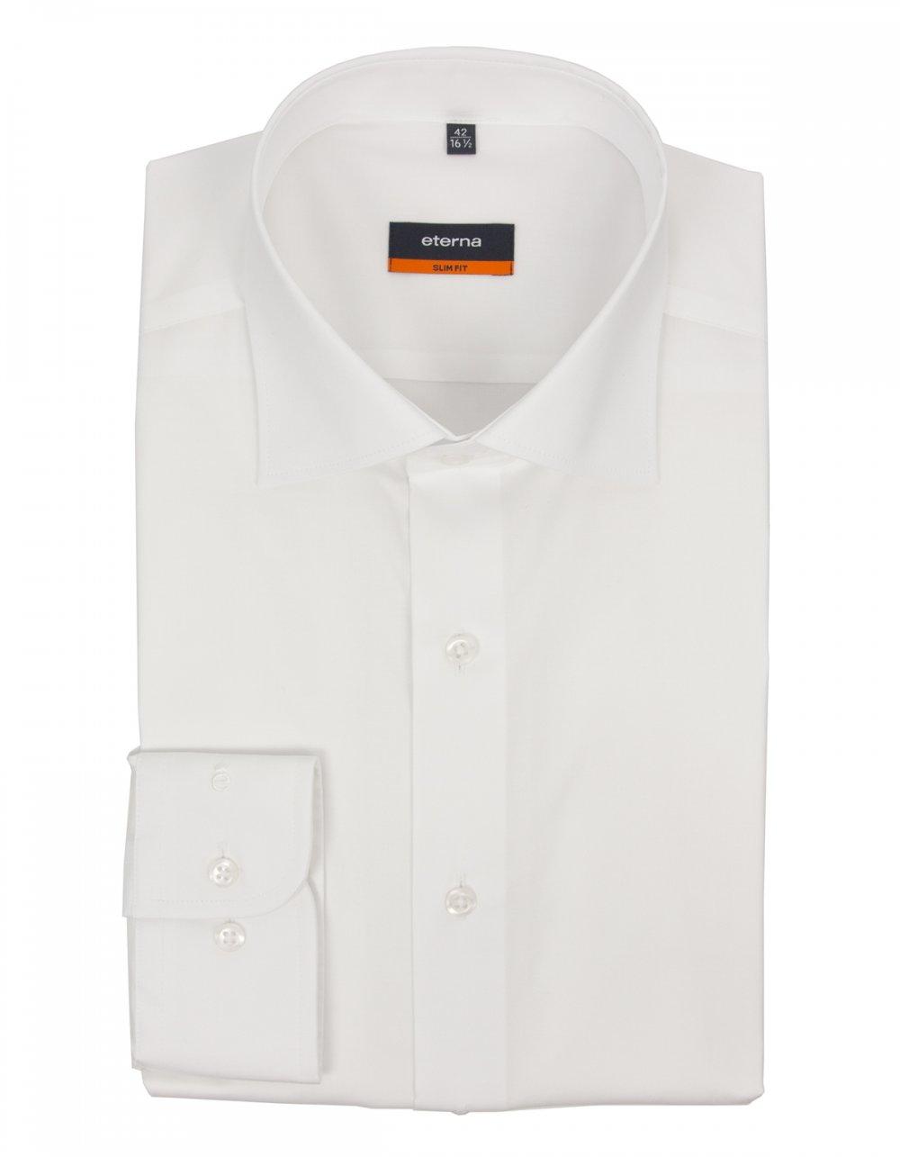 eterna slim fit stretch cotton poplin shirt 8977 white. Black Bedroom Furniture Sets. Home Design Ideas
