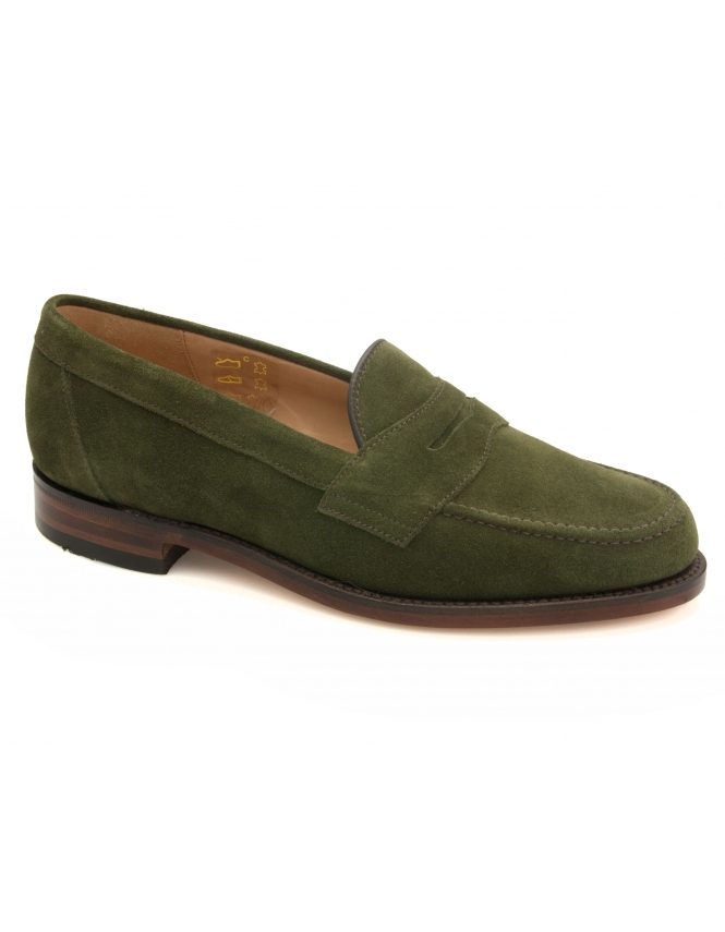 Loake Eton Suede Saddle Loafer - Green Suede