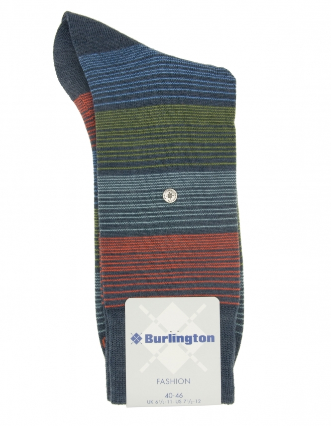Burlington Fashion Prism Stripe Wool Rich Sock - Dark Grey