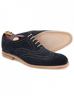 Fearnley Navy Suede Oxford Brogue Shoes