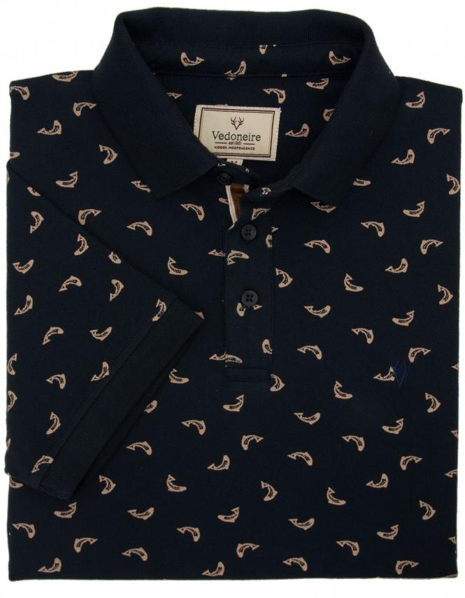 Fish Print Polo Shirt Navy Fields Menswear