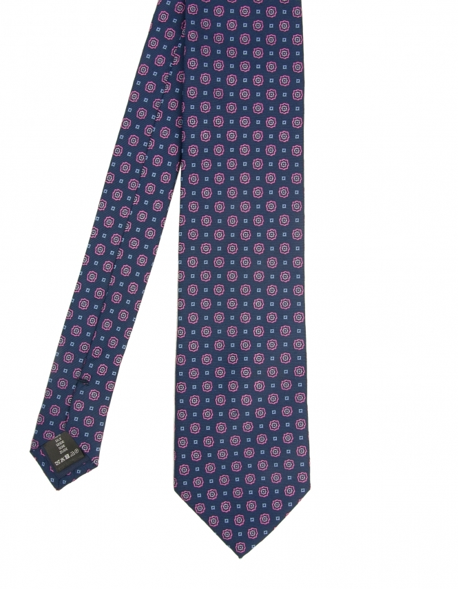 Michaelis Flower Design Woven Silk Tie - Fuschia