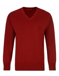 Gabicci V-Neck Jumper -Merino Wool Blend - Red