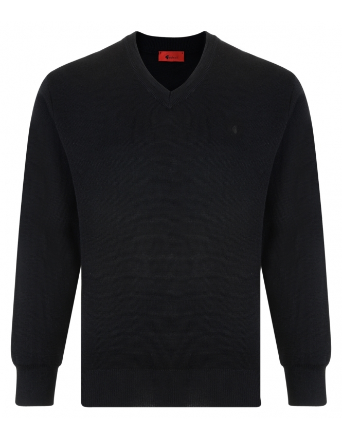 Gabicci V-Neck Jumper -Merino Wool Blend - Black