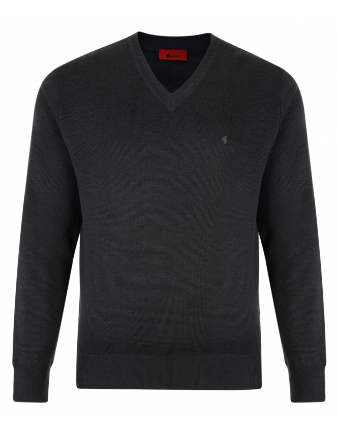 Gabicci V-Neck Jumper -Merino Wool Blend - Charcoal