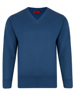Gabicci V-Neck Jumper -Merino Wool Blend - Denim Blue