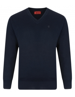 Gabicci V-Neck Jumper -Merino Wool Blend - Navy Blue