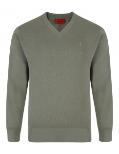 Gabicci V-Neck Jumper -Merino Wool Blend - Olive