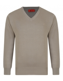 Gabicci V-Neck Jumper -Merino Wool Blend - Stone