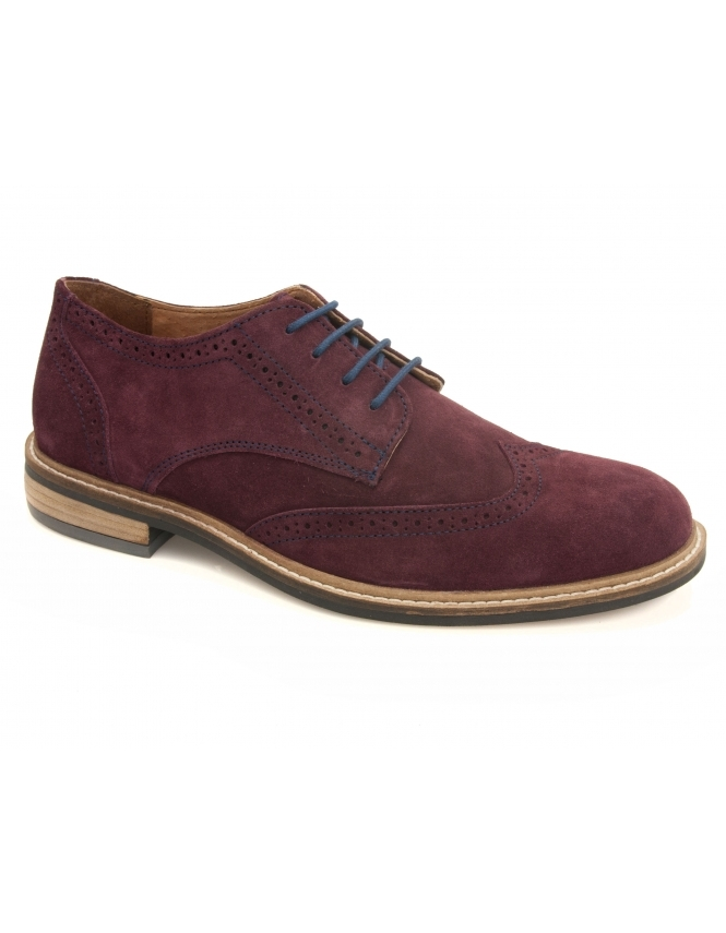 Lotus Garratt Suede Derby Lace Brogues - Aubergine