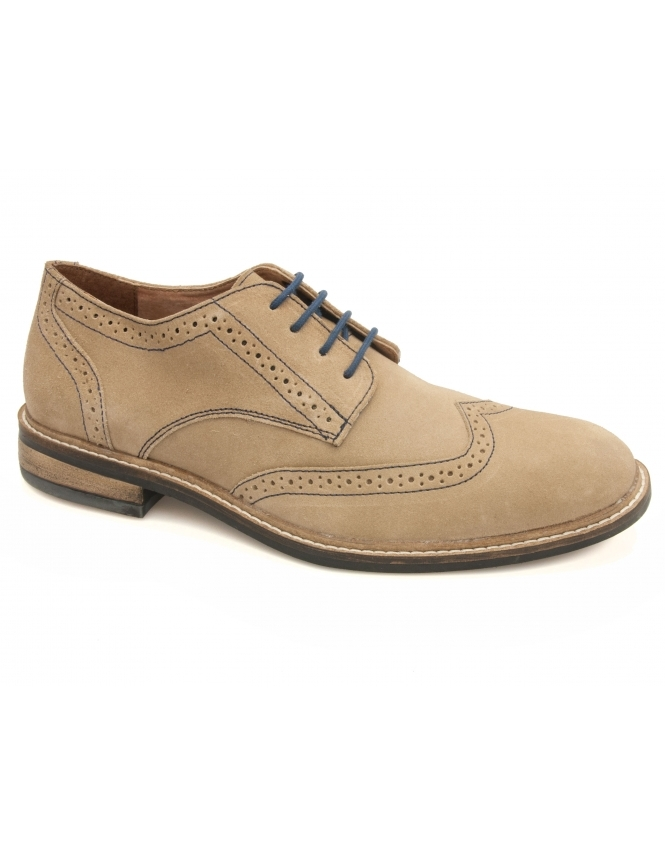 Lotus Garratt Suede Derby Lace Brogues - Natural
