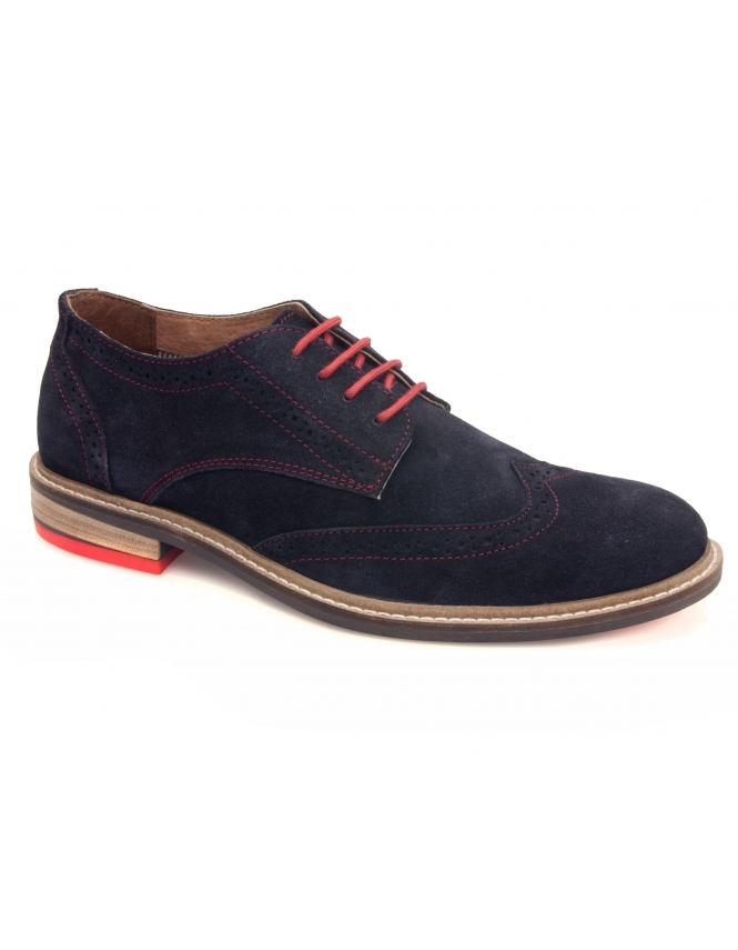Lotus Garratt Suede Derby Lace Brogues - Navy