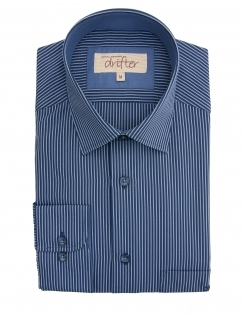 Giovanni Cotton Rich Micro Striped Shirt - Navy