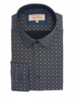 Giovanni Cotton Rich Patterned Shirt - Navy