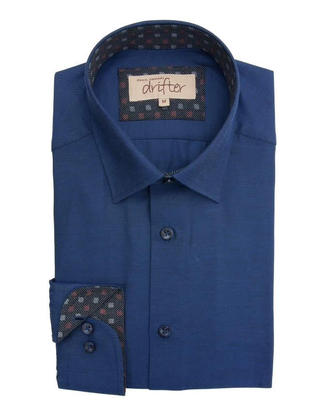 Drifter by Daniel Grahame Giovanni Cotton Rich Shirt - Navy