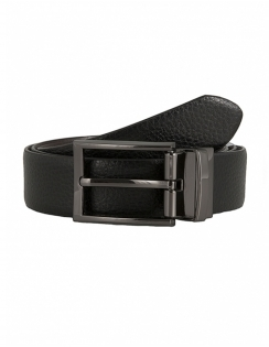 Grainy Reversible Leather Belt - Black / Brown