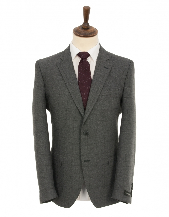 Hugo James Grey Overcheck Penteadora Wool Rich Suit