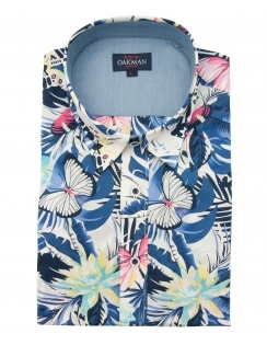 Half Sleeve Tropical Print Shirt - Blue
