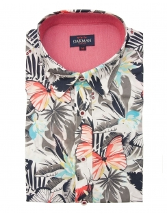 Half Sleeve Tropical Print Shirt - Grey