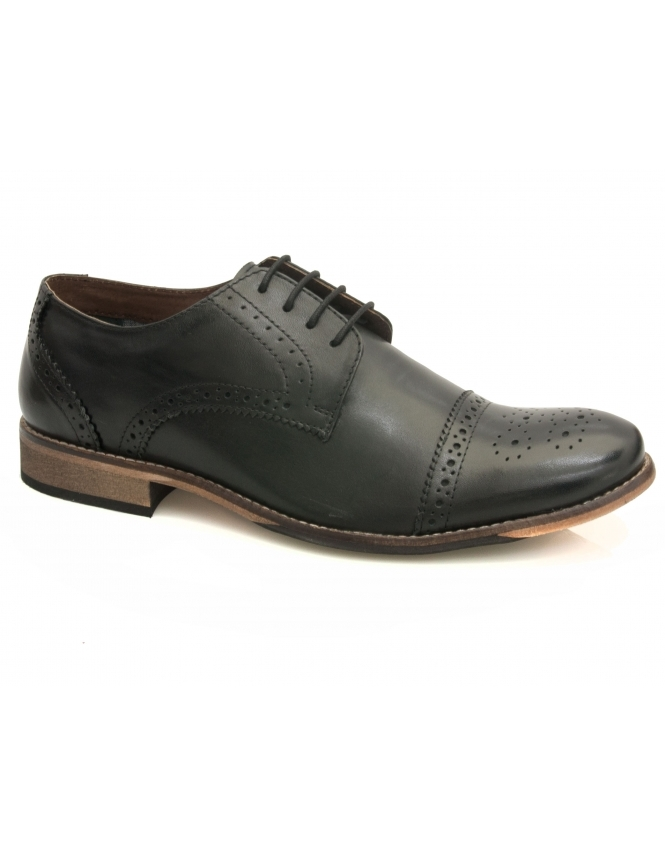 Lotus Hargreaves Toe Cap Oxford - Black
