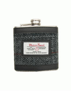 Harris Tweed 6oz Hip Flask - Grey