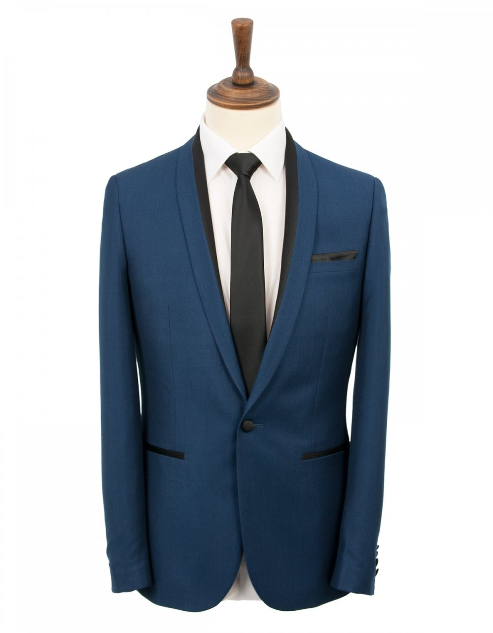 Brown Slim Fit Blue Prom Suit