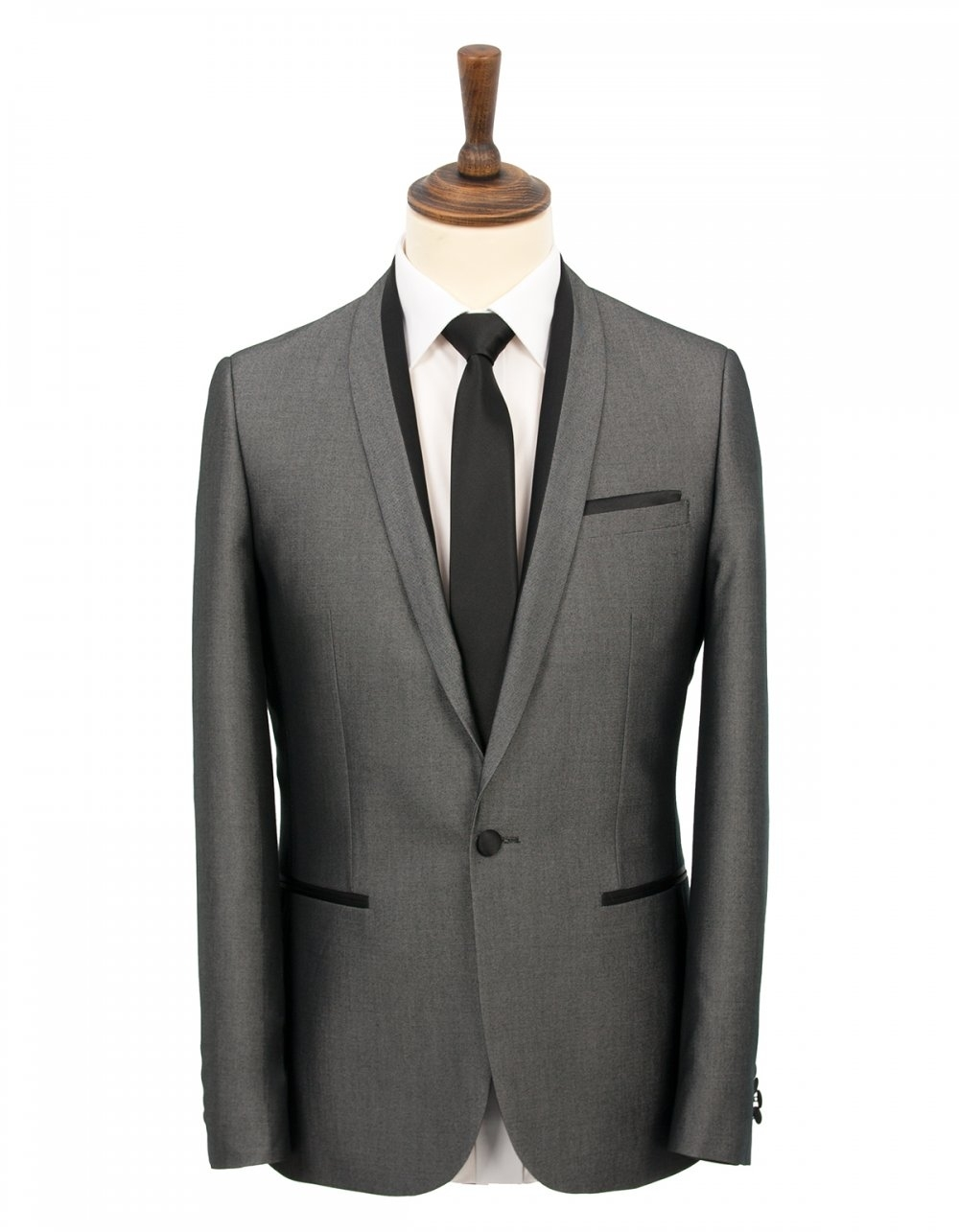 Brown Slim Fit Silver Prom Suit