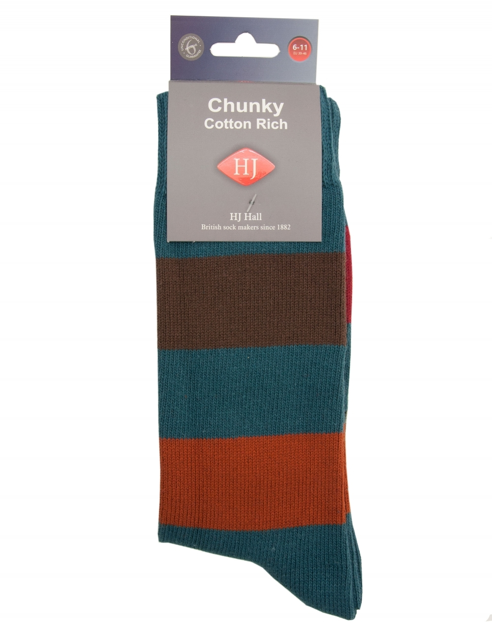 H J Hall Hayle Stripe Chunky Cotton Sock - Teal