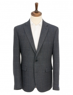Herringbone Overcheck Wool Blend Sports Jacket - Grey