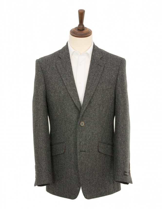 Hugo James Herringbone Pure Wool Jacket - Charcoal