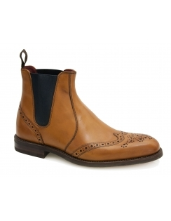 Hoskins Calf Leather Brogue Chelsea Boot - Tan
