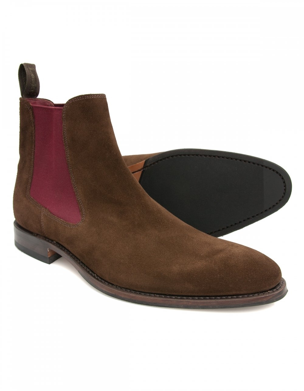 loake hutchinson brown suede chelsea boot with burgundy elastic. Black Bedroom Furniture Sets. Home Design Ideas