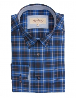 Ivanno Cotton Rich Check Shirt - Blue