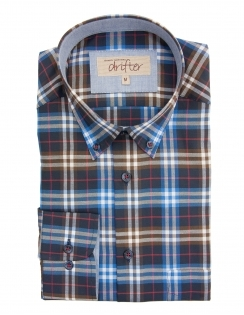 Ivanno Cotton Rich Check Shirt - Brown