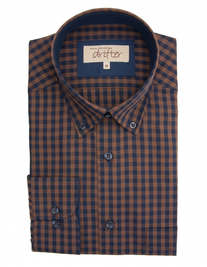 Drifter by Daniel Grahame Ivanno Cotton Rich Gingham Shirt - Navy/Brown