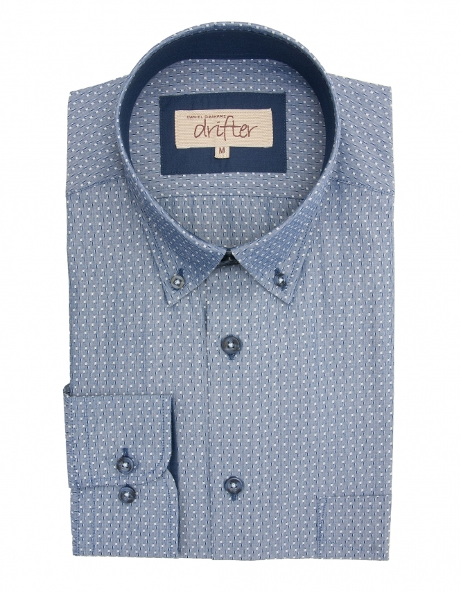Drifter by Daniel Grahame Ivanno Cotton Rich Textured Shirt - Blue