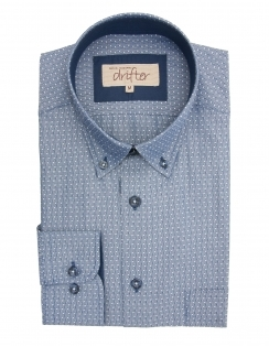 Ivanno Cotton Rich Textured Shirt - Blue