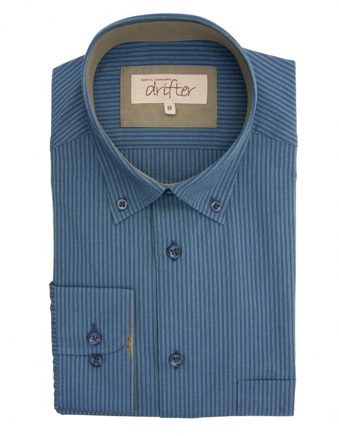 Drifter by Daniel Grahame Ivano Cotton Rich Striped Shirt - Navy/Green