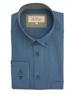 Ivano Cotton Rich Striped Shirt - Navy/Green