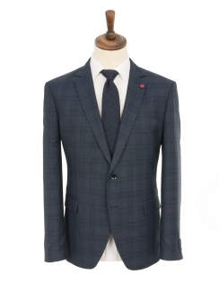 James Checked 2 Piece Tailored Suit - Navy