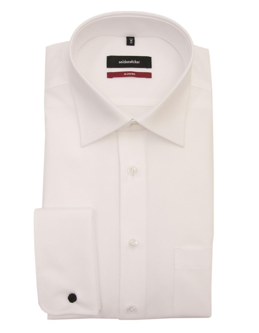 430c82d37efd Kent Uma Double Cuff Poplin Shirt - White | Fields Menswear