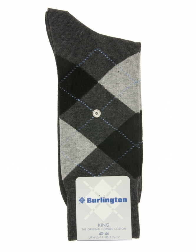 Burlington King Argyle Sock - Grey